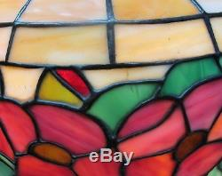 Signed CHICAGO MOSAIC Stained Glass Lamp with Floral Design c. 1915 leaded antique