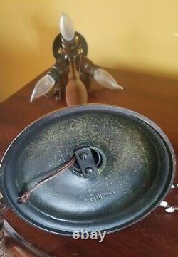 Signed Handel Leaded Stained Slag Glass Bronze Lamp