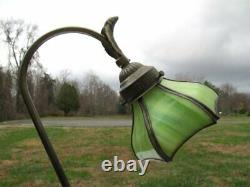 Small Antique Green Tiffany Style Stained Slag Glass Shade Gooseneck Desk Lamp