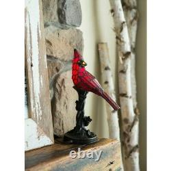 Small Table Lamp Tiffany Style Accent Red Cardinal Stained Glass Whimsical 13.5