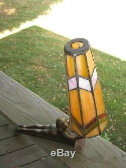 So cool Art Deco Laying Lady Woman lamp light With Stained glass shade Unique