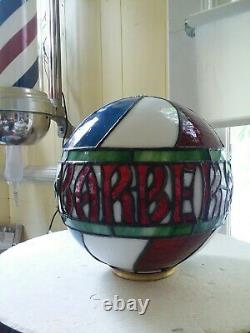Stained Glass Barber Shop Globe Lamp Sign Vintage Antique Style