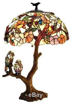 Stained Glass Chloe Lighting Birds 4 Light Double Lit Table Lamp 19 Oval Shade