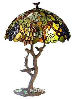 Stained Glass Chloe Lighting Leaves And Grapes 2 Light Table Lamp 20 Shade