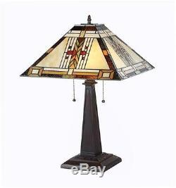 Stained Glass Chloe Lighting Mission 2 Light Table Lamp 16 Shade Handcrafted