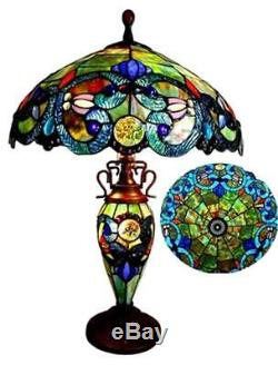 Stained Glass Chloe Lighting Victorian 3 Light Double Lit Table Lamp 18 Shade