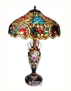 Stained Glass Chloe Lighting Victorian 3 Light Double Lit Table Lamp 18 Wide