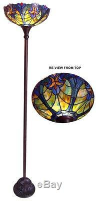 Stained Glass Chloe Lighting Victorian Torchiere Floor Lamp 15 Wide Handcrafted