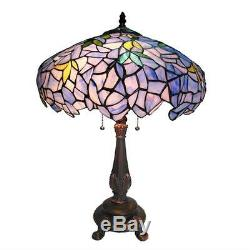 Stained Glass Chloe Lighting Wisteria 2 Light Table Lamp 16 Shade Handcrafted