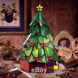Stained Glass Christmas Tree Large Table Lamp 16 Illuminated Sculpture
