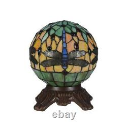 Stained Glass Dragonfly 1 Light Round Table Lamp Chloe Lighting CH3T169RD08-TL1