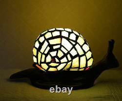 Stained Glass Handcrafted Snail Night Light Table Desk Lamp. Cute