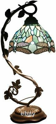 Stained Glass Lamp Handcrafted 20.5 tall Reading Blue Victorian Vintage Style