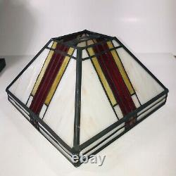 Stained Glass MCM Frank Lloyd Wright Styled Desk Side Lamp Red Yellow Marble