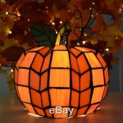 Stained Glass Pumpkin Table Lamp Halloween Thanksgiving 9 Tall Night Light