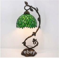 Stained Glass Reading Lamp Table Light Green Wisteria Desk Baroque Tiffany Style