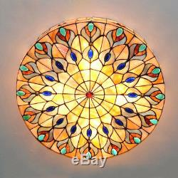 Stained Glass Style 4 Light Flush Mount Ceiling Fixture Lighting Tiffany Lamp