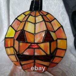 Stained Glass Tiffany Style Orange 8Pumpkin Jack O Lantern Lamp Night Light
