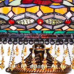 Stained Glass Victorian Tiffany Style Table Lamp 27.5in 1199 Pieces Handcraft