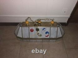 Stained Glass and Brass Pool Table Light Billiard Lamp 3 Bulb Beveled Design