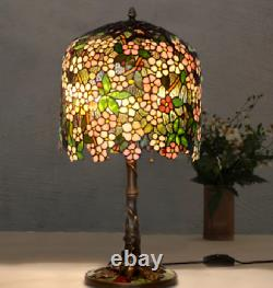 Stained glass table lamp elegant floral vine tiffany style brand new free ship