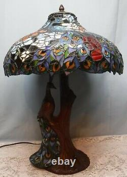 Stunning Peacock Stained Glass Tiffany Style Table Lamp Top & Bottom Light