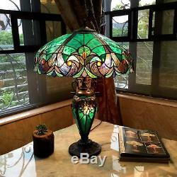 Table Lamp 2 Light Lit Base Green Stained Glass Tiffany Vintage Styl Handcrafted