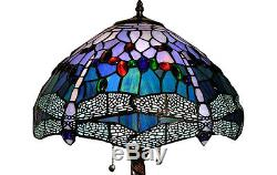 Table Lamp Tiffany Style Blue Red Stained Glass Dragonfly Shade 2 Light