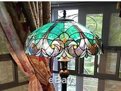 Teal Victorian Vintage Stained Glass Tiffany Style Floor Lamp, Peacock, 2-Light
