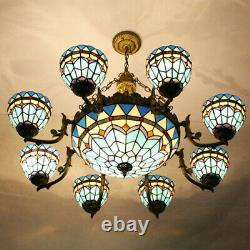 Tiffany Baroque Living Room Chandelier Stained Glass Ceiling Light Pendant Lamp