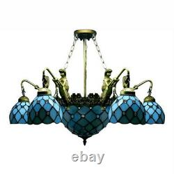 Tiffany Blue Stained Glass Chandelier Light Vintage Iron Mermaid Ceiling Lamp