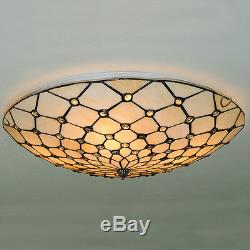 Tiffany Ceiling Chandelier Light Flush Mount Lamp Fixtures Stained Glass Decor