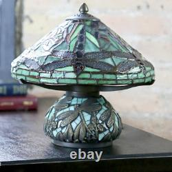 Tiffany Dragonfly Table Lamp Stained Glass Shade Accent Lighting Bedside Light