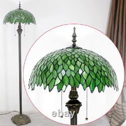 Tiffany Floor Standing Lamp Stained Glass Green Wisteria Style Antique Light 64