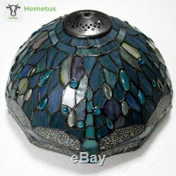 Tiffany Lamp Sea Blue Stained Glass and Crystal Bead Dragonfly S147 Series