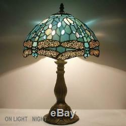 Tiffany Lamp Sea Blue Stained Glass and Crystal Bead Dragonfly Style Table