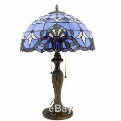 Tiffany Lamp Stained Glass Desk Lamps 24 Inch Tall Blue Purple Baroque Lavender