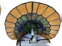 Tiffany Lamp Turkey Stained Glass Vtg Thanksgiving Cracker Barrel Collectible