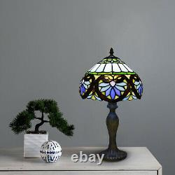 Tiffany Leaf Style 10 inch Table Lamp Stained Glass Handcrafted Multicolor