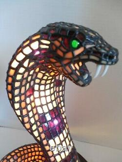 Tiffany Quality, Rare, 3 Dimensional Stained Glass King Cobra Snake Lamp