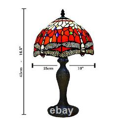 Tiffany Red and White Dragonfly Table Lamp 10 Inch Style Stained Glass Shade