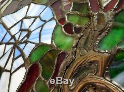 Tiffany Reproduction Blossom Cobweb Stained Leaded Glass Dome Shade Table Lamp