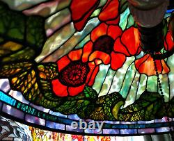 Tiffany Reproduction Lamp Shade 20 Poppy Orange Red Stained Glass Odyssey