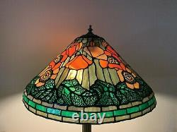 Tiffany Reproduction Poppy Lamp Stained Glass Lamp Shade 21 For Repair