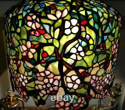 Tiffany Reproduction Stained Glass Lamp Apple Blossom on Bronze Tree Trunk Base