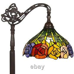 Tiffany Rose Reading Floor Lamp Electric Light Living Room Bedroom Stained Glass
