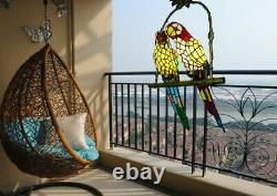 Tiffany Stained Glass 2 Parrots Chandeliers Home Lighting Pendant Ceiling Lamps