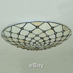 Tiffany Stained Glass Chandeliers Ceiling Fixtures Retro Light Flush Mount Lamps