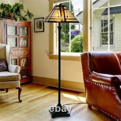 Tiffany Stained Glass Egyptian Style Metal Floor Lamp Vintage 2 Bulbs 5 Ft High