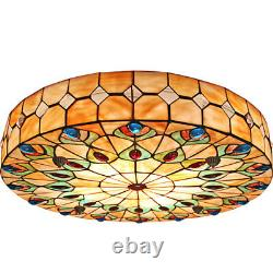 Tiffany Stained Glass Peacock Ceiling Light Home Flush Mount Lamp Fixtures 20